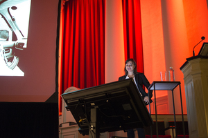 Lynsey Addario addressed a packed audience inside Hendricks Chapel on Tuesday night.