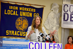 Democrat Colleen Deacon, who is currently attempting to upset Rep. John Katko (R-N.Y.) in New York's 24th Congressional District race, spoke at a Democratic