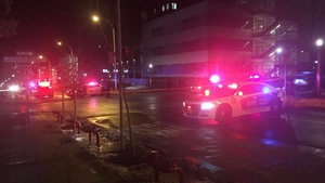 Three people were shot on Marshall Street around 2:30 a.m. Sunday morning. A heavy police presence was seen in the area into the morning.
